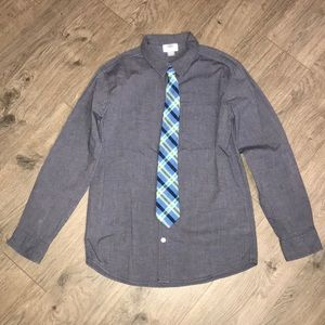 Old Navy Blue Button Up Shirt with Real tie